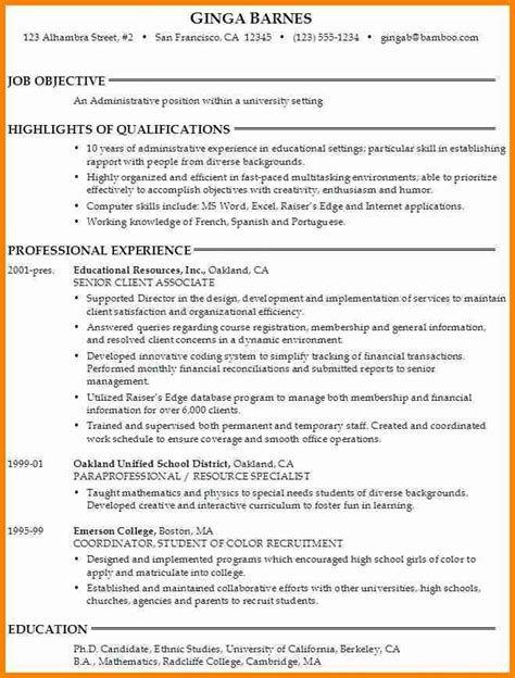 college resume objective exles college application resume objective best resume collection