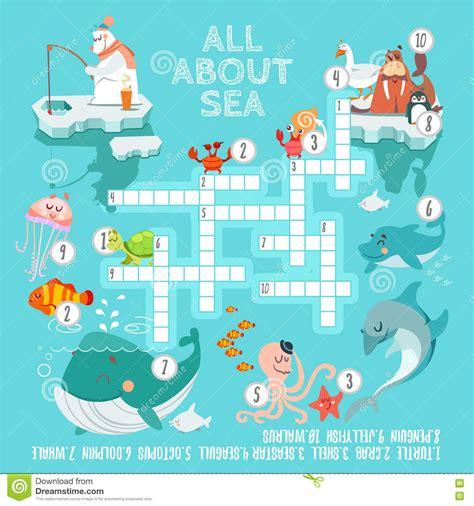 sea dogs crossword crossword with animals vector illustration