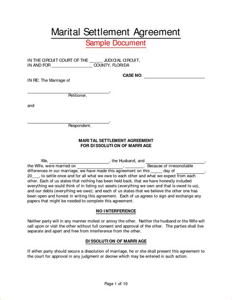 marital settlement agreement template marital settlement agreement form sle california
