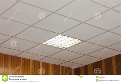 office ceiling with built in fluorescent l stock image