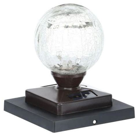 crackle glass l globe heritage bronze solar led crackle glass globe post cap 2