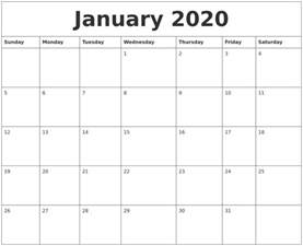 january 2020 month calendar template
