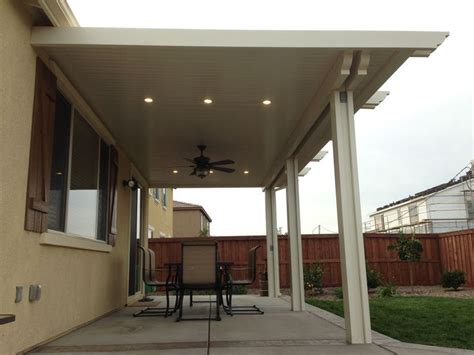 Alumawood Patio Cover With Fan And Two Lightstrips Canned Light Patio Covers
