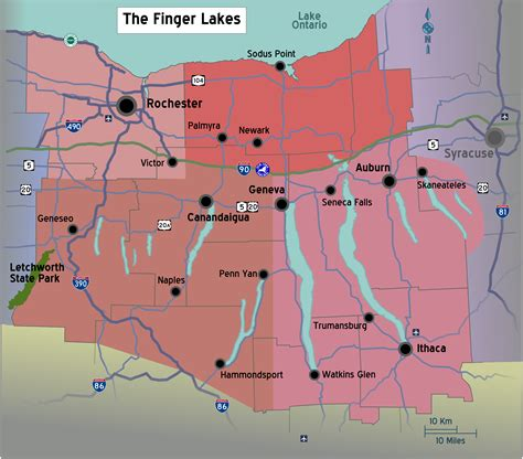 finger lakes ny map file new york finger lakes region map with road shields png