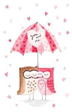 Umbrella Wafell Owl Glitter i you animated freelance designer and glitter graphics