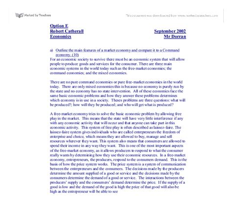 Mixed Economy Essay by Essay Comparing The Planned Economy With The Mixed Economy