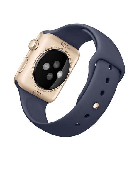 Apple Series 1 Aluminum Goldmidnight Blue Sport Band 42mm apple sport 42mm with midnight blue band and gold smartwatches org