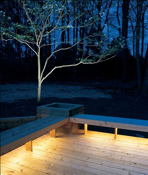 installing lights under benches bathes your deck in a warm