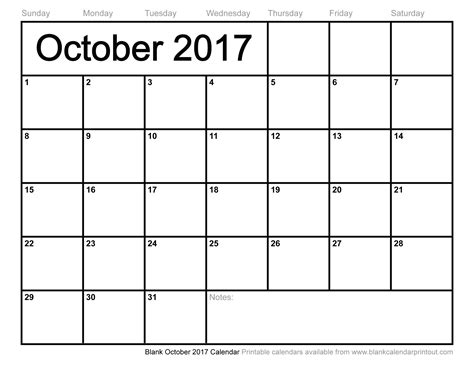 printable calendar month of october 2017 blank october 2017 calendar to print