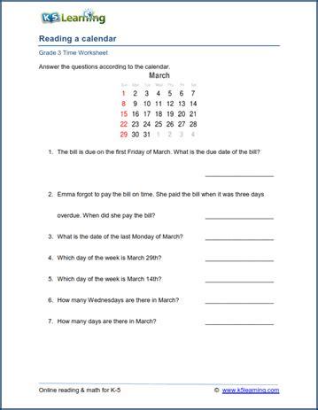 Calendar Questions Worksheets Grade 3 Calendar Worksheet Reading A Calendar K5 Learning