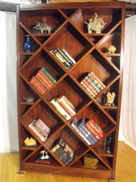 handmade bookcase curio with diagonal shelves by