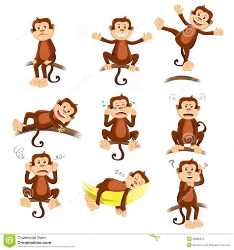 expression cartoons illustrations vector stock images monkey with different expression stock vector