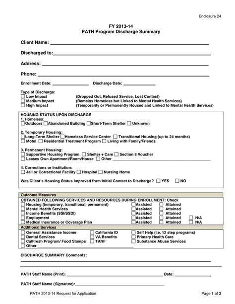 discharge summary template mental health path discharge summary template in word and pdf formats
