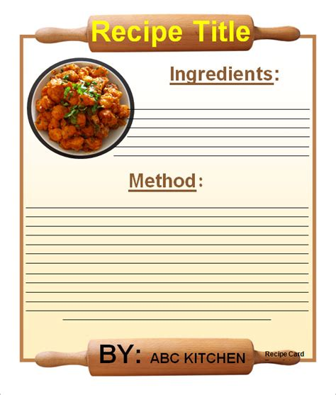 recipe templates for mac sle recipe card template 6 free documents