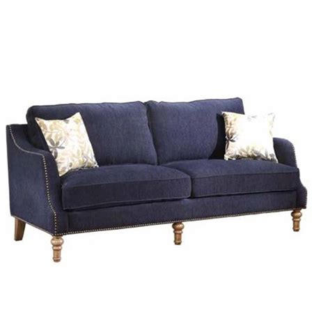 Ink Blue Fabric Sofa W Accent Pillows