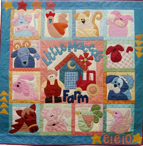 Animal Patchwork Quilt Patterns - maccas farm pattern only kookaburra cottage quilts