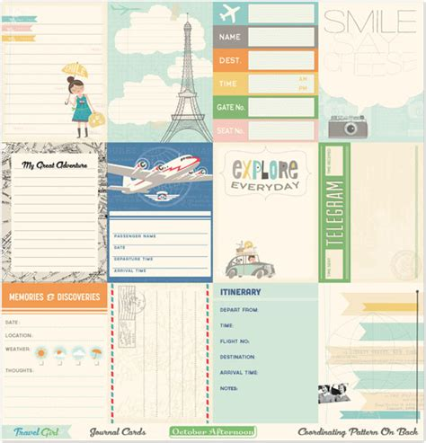 printable travel journal cards october afternoon products