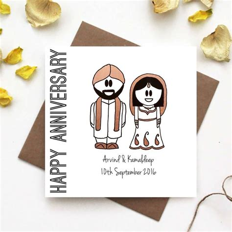 indian wedding anniversary cards happy anniversary card traditional indian dress by the