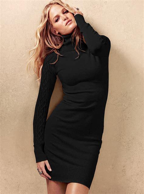 black knit turtleneck dress s secret knit turtleneck dress in black lyst