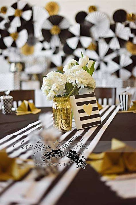 Black And White Themed Baby Shower by Black White Gold Baby Shower Ideas Photo 5 Of