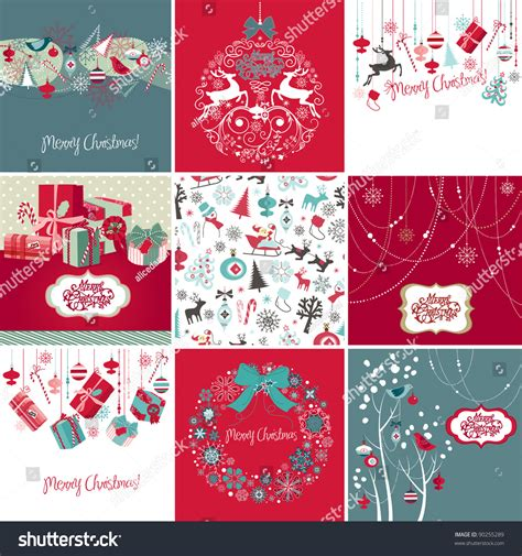 christmas cards shutterstock set cards stock vector 90255289