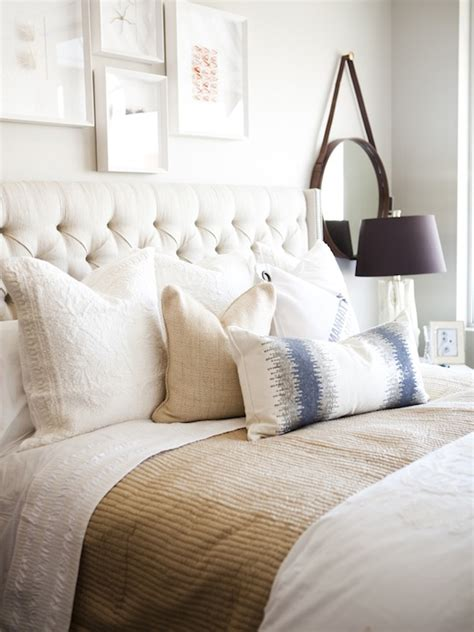 Bedroom With Tufted Headboard by Ivory Tufted Headboard With Nailhead Trim Transitional