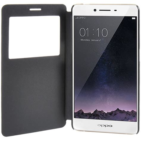 Oppo R7 R7s Hardcase Leather Bumper Casing Backcover Hardcove window display leather flip oppo r7s r7sf black