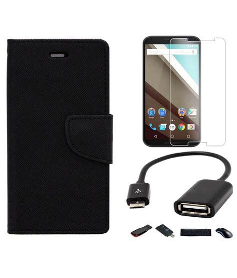 Lenovo A6000 Otg relax and shop flip cover for lenovo a6000 black with tempered glass and otg cable buy relax