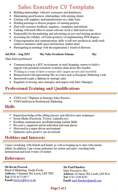 executive cv format sales executive cv template 2