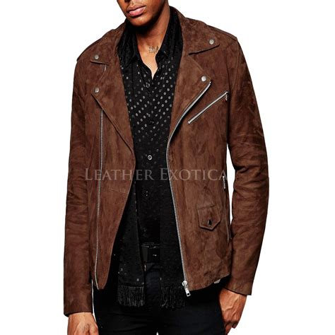 biker jacket men suede asymmetric biker jacket for men