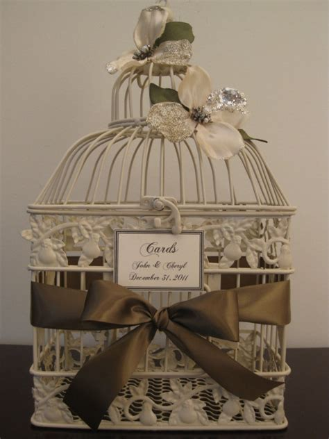 Beautiful Antique Style Ivory Bird cage / Wedding Card