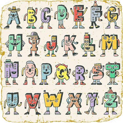 lettere alfabeto divertenti alfabeto divertente fantastico vettoriali stock