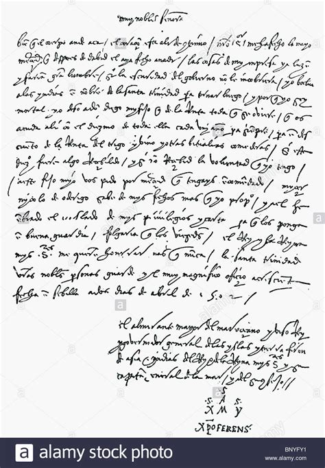 Bank Letter St Facsimile Of The Letter From Christopher Columbus To The Bank Of St Stock Photo Royalty Free