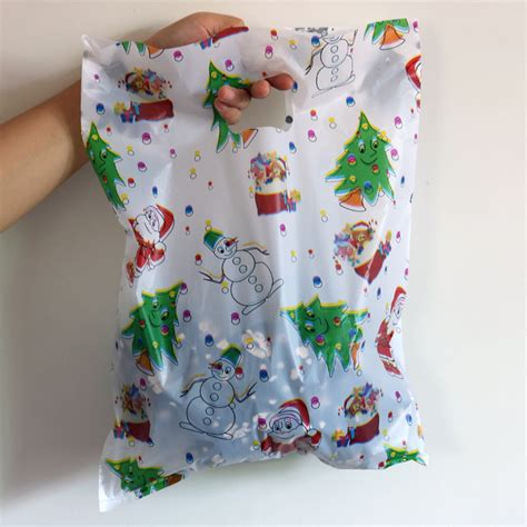 2016 100pcs lot large plastic bag 30x40cm white christmas