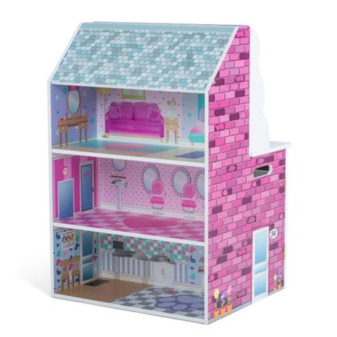 dollhouse kitchen combo plum 2 in 1 wooden dolls house play kitchen pink buy