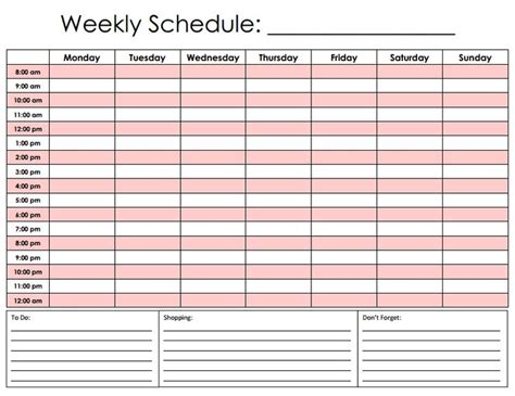 search results for printable daily hourly schedule