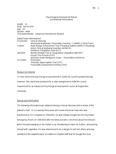 Mmpi Report Written Templates Purchase Sle Psych Report