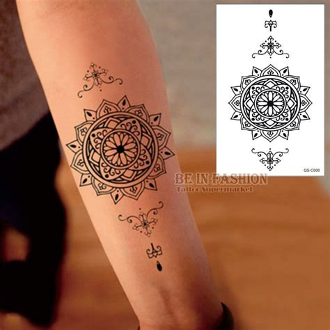 kompass design schwarz henna tattoos arm qs c006 china