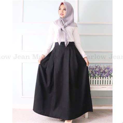 Setelan Atasan Rok Panjang Biru Hitam Soft Silk Chiffon Import rok panjang hitam 5003 daftar update harga terbaru indonesia