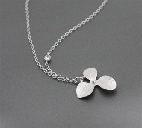 tiny orchid necklace with simple simple