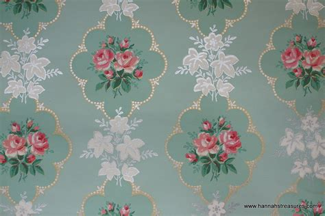 flower wallpaper etsy 1940 s pink rose vintage wallpaper on mint by hannahstreasures