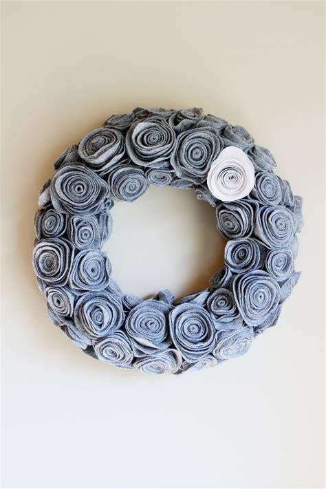 Handmade Rosettes - handmade grey felt rosette wreath winter wreath door