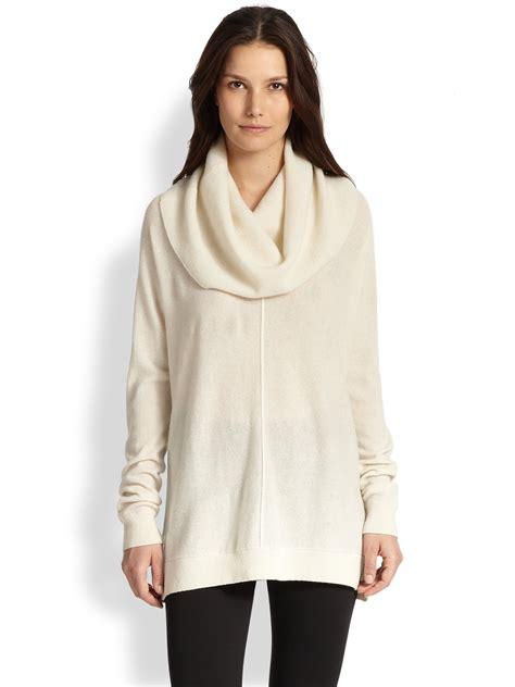 draped sweater vince wool cashmere draped turtleneck sweater in beige