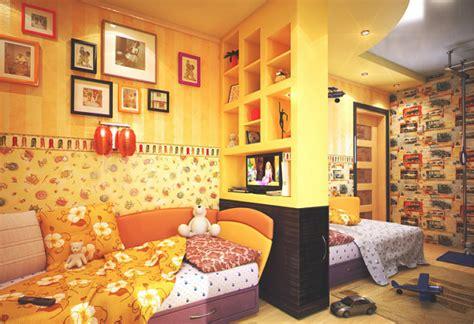wallpaper dinding menyala kamar tidur modern bertema warna kuning rancangan desain