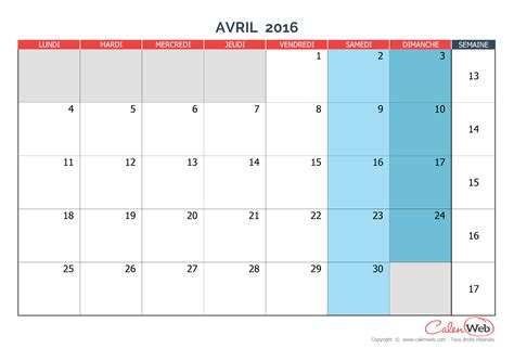 Calendrier 2016 Vierge Mensuel à Imprimer Calendrier Mensuel Mois D Avril 2016 Version Vierge