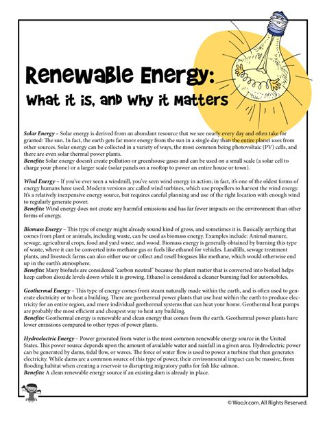Energy Resources Worksheet by Renewable Energy Sources Reading Overview Woo Jr