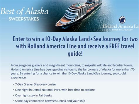 Alaska Sweepstakes - holland america line best of alaska sweepstakes