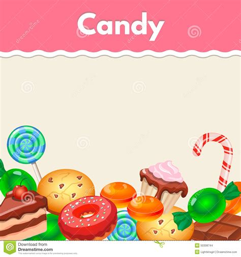 Background With Colorful Sticker Candy, Sweets And Stock