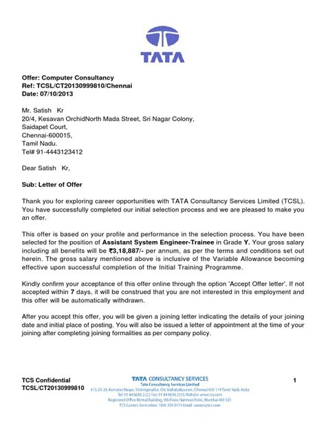 Offer Letter Tcs Tcs Offer Letter Sle Insurance Government
