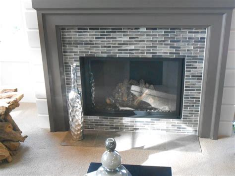Glass Mosaic Fireplace Surround by Glass Mosaic Fireplace Accent Mosaic Tile Ideas